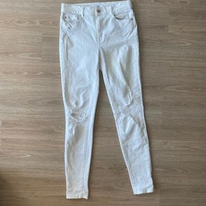 DYNDNM White Skinny Ripped Hi-Waisted Jeans 27